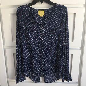 Maeve Anthropologie Patterned Long Sleeve Shirt